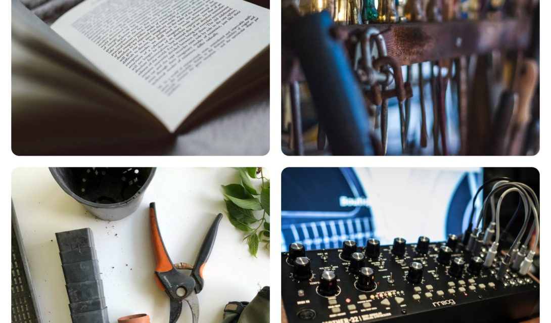Collage of Bible, Tools, Gardening Supplies, Electronic Music Synthesizer